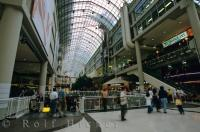 Eaton Centre in Toronto, Ontario is a historical landmark that extends for two city blocks.