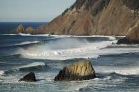 The beautiful ocean scenery seen from Chapman Point in the Ecola State Park in Oregon, USA.