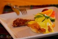 The ideal way to start your day at the Rifflin'Hitch Lodge in Newfoundland Labrador in Canada is to enjoy a fine breakfast of Eggs Benedict.