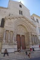 The Eglise St Trophime in the city of Arles, France in Europe is a popular tourist attraction when visiting Arles.