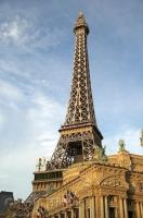 A replica of the Eiffel Tower at the Paris Las Vegas Hotel in Nevada, USA.
