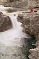 The Elbow River makes a sharp right turn at the Elbow Falls located in the Kananaskis Country in Alberta, Canada.