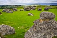 A collection of ancient, weathered limestone formations aptly name Elephant Rocks is situated on a farm near Duntroon in the Waitaki Valley of Otago, New Zealand.