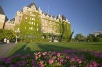 The ivy covered Fairmont Empress Hotel in Victoria on Vancouver Island, British Columbia.