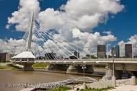 The Esplanade Riel Bridge is a pedestrian walking bridge across the Red River in Winnipeg, a city in the Province of Manitoba, Canada. The bridge was designed by Étienne Gaboury of Wardrop Engineering, and was completed in 2003.