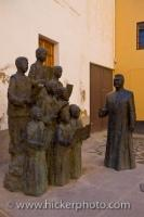 A group of statues make up a choir and are displayed opposite the Cathedral of Guadix in the town of Guadix in the Province of Granada in Spain.