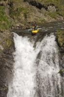 Waterfall running is an extreme kayaking watersport where a person paddles over the brink of a waterfall.