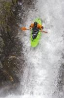 Preparing for a nose dive during extreme kayaking in the Catalan Pyrenees, Spain.