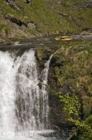 The extreme sport of waterfall running is where a kayak paddler paddles to the brink and descends a waterfall.