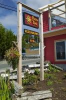 A restaurant sign indicates that time almost does seem to stand still in Alert Bay on Northern Vancouver Island in British Columbia, Canada.