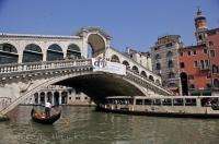 Famous Rialto Bridge Venice Italy Europe