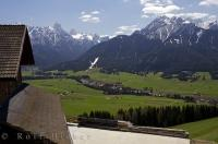 The farmland of Toblach, South Tyrol consists of acreage of lush, green fields in the valleys of Italy, Europe.