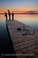 Sunset Fishing Vacation Father And Sons Manitoba