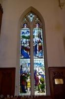 Various pictures are shown in the stained glass windows that adorn the First Church of Otago in the City of Dunedin on the South Island of New Zealand.