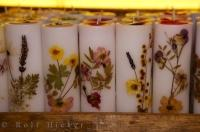Hand crafted candles with floral designs at the La Source Parfumee in the village of Gourdon, Provence, France.