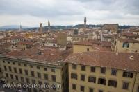 An aerial view of the City of Florence in the Region of Tuscany in Italy, Europe from the bell tower or Duomo Campanile.