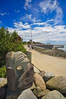 A unique sculpture along the Foreshore Coastal Walkway in New Plymouth, New Zealand is one of many that adorns the waterfront walk.