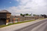 Driving along the road in Fort MacLeod in Southern Alberta you can see the exterior wooden walls of the Fort Museum.