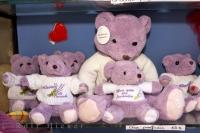 Cute lavender teddy bears on display in the village of Gourdon, Provence in France, Europe.
