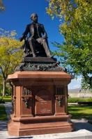A statue of Francois Xavier Garneau displayed in a park next to Porte Saint-Louis in Quebec City, Canada.