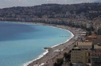 Looking down from the Parc du Chateau on the French Riviera you can see for miles along the beautiful beaches in the city of Nice in the Provence, France in Europe.