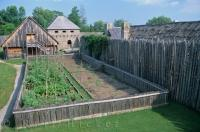 One of the houses with their own vegetable garden at the French Jesuit mission, Saint Marie among the Hurons in Southern Georgian Bay in Ontario, Canada.