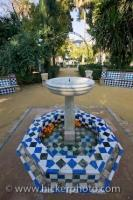 A quiet place to sit and enjoy the beauty of the Murillo Gardens in Sevilla, Andalusia in Spain is in the Plaza Alfaro where a unique water garden feature is displayed.