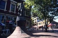 The statue of Gassy Jack stands in the center of Gastown in Vancouver, Canada.