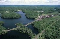 An aerial view of the road and 30000 islands in Parry Sound which is in Georgian Bay, Lake Huron in Ontario.