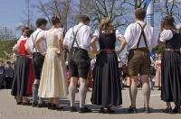 A team of performers are ready to dance at the German Maibaumfest in Putzbrunn, Germany.