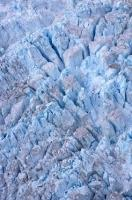 An aerial view of the dramatic ice formations seen on the surface of the Franz Josef Glacier on the West Coast of New Zealand.
