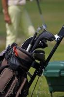The golf bag and clubs are ready for the player to choose the next club while contemplating his shot at the Oliva Nova Golf Course on the Costa Blanca in Valencia, Spain.