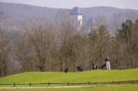 The Golf course in the village of Karlstein has views of the castle from almost every hole.