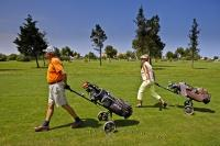 Seniors find the Oliva Nova Golf Course in Valencia, Spain the ideal location for a round of golf and a fairly easy walk where they can use their pull carts instead of power carts.