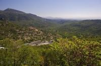 The lively panoramic view of the tiny village of Pont du Loup in the Gorge du Loup, Alpes Maritimes in Provence, France.