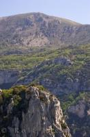 The narrow Gorges Du Loup of the Provence, France, Europe cuts through the hills at the foot of the village of Gourdon.