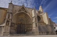 The magnificent Gothic portal of the Basilica de Santa Maria la Mayor welcomes all who visit the village of Morella in the El Maestrat in Valencia, Spain.