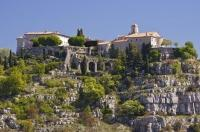 The extraordinary village of Gourdon in the Provence, France in Europe sits on a rocky cliff overlooking the Mediterranean coastline.