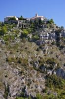 The ancient village of Gourdon sits on a rocky point directly above the Loup River in Provence, France.