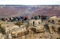 People flock to see the view in Grand Canyon National Park in Arizona, USA.