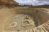 A great kiva uncovered at the Pueblo Bonito in the Chaco Culture National Historic Park of New Mexico.
