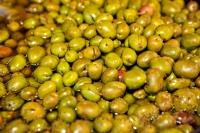 Green Olives Market Stall Display Andalusia