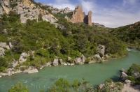 The Gallego River is an incredible shade of green as it flows beneath the Mallos de Riglos in Aragon, Spain.