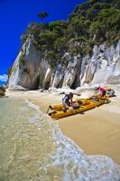 There are several operators in the small community of Marahau, who offer guided kayak tours in the Abel Tasman National Park.
