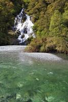One of the most accessible waterfalls in the Haast Pass, Fantail Falls are a 5 minute return walk from the road in Mt Aspiring National Park on the South Island of New Zealand.