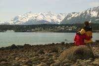 A couple enjoy the view of Haines in Southeast Alaska.