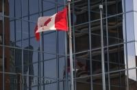 The national flag of Canada was being proudly displayed in downtown Hamilton in Ontario.