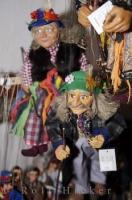 A display of handmade puppets in one of the shops along Golden Lane at Prague Castle in the Czech Republic in Europe.