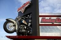The front end of a Harley Davidson on a building in Las Vegas, Nevada.