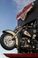 A harley bursts out of the wall of the Harley Davidson Cafe in Las Vegas, Nevada, USA.